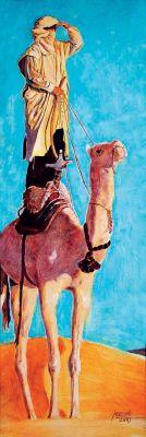 Beduin a tevéjén - olajfestmény illusztráció