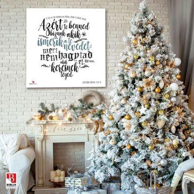 BP_298  Zsoltárok 9:10-11, fehér vászonposzteer a karácsonyfa mellett