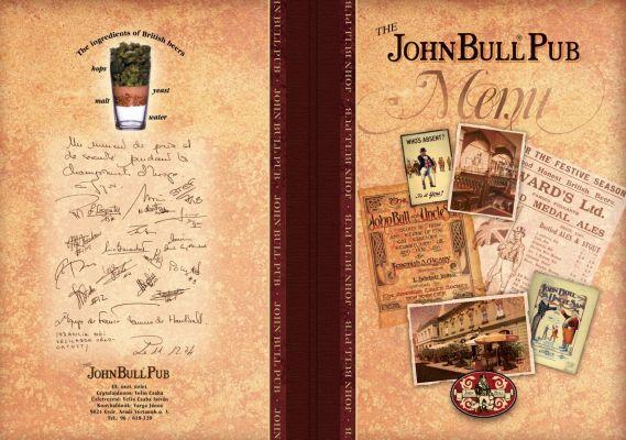 John Bull Pub - étlap borító 1.
