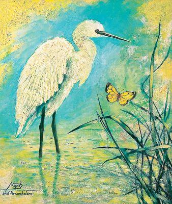 Kócsag és a pillangó - olajfestmény illusztráció
