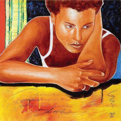 Fekete lány - olajfestmény illusztráció