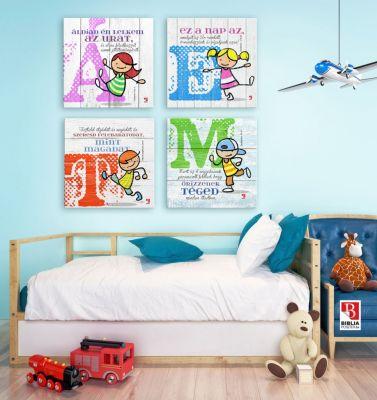 Gyerekeknek szóló Biblia idézet, igés kép a falon