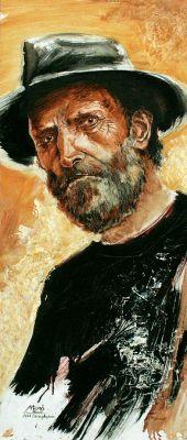 A kalapos ember - olajfestmény illusztráció