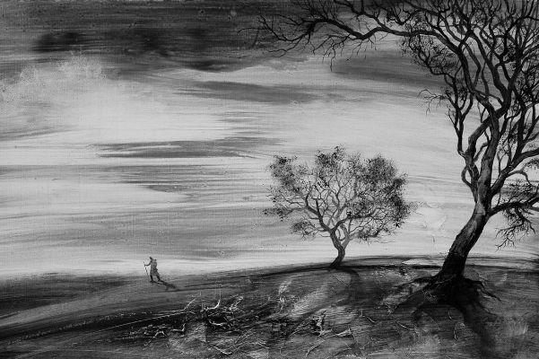A vándor - olajfestmény illusztráció