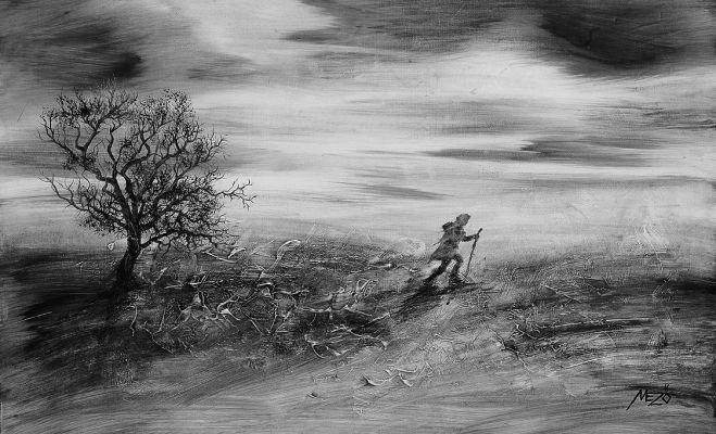 A vándor 5.  - olajfestmény illusztráció