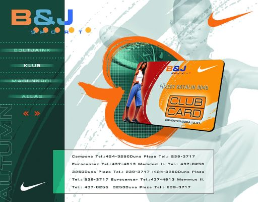 B&J Sport - website design 2002